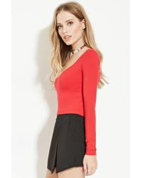 Forever 21 - Red V-neck Crop Top - Lyst