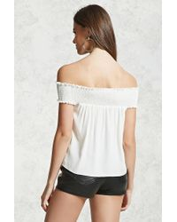 Forever 21 - White Smocked Off-the-shoulder Top - Lyst