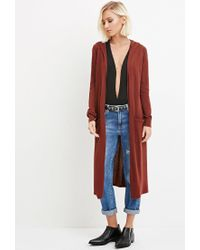 Forever 21 - Brown Hooded Longline Cardigan - Lyst