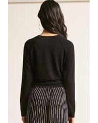 Forever 21 | Black Tie-front Top | Lyst