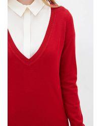 Forever 21 - Red Deep V-neck Sweater - Lyst
