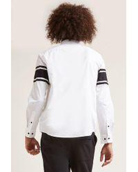 Forever 21 - White Slim-fit Stripe Sleeve Shirt for Men - Lyst