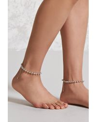Forever 21 - Metallic Ball Chain Anklet Set - Lyst