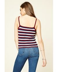 Forever 21 | Blue Stripe Knit Cami | Lyst