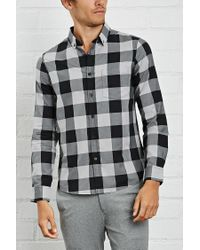 Forever 21 - Gray Slim-fit Plaid Shirt for Men - Lyst