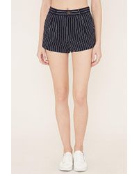 Forever 21 - Blue Pleated Pinstripe Shorts - Lyst