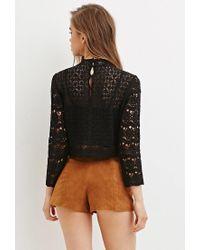 Forever 21 - Black Floral Crochet Mock Neck Top - Lyst