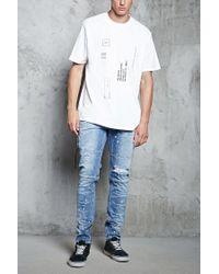 Forever 21 - Blue Slim-fit Bleach Dye Jeans for Men - Lyst