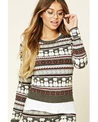 Forever 21 - Gray Fair Isle Snowman Sweater - Lyst