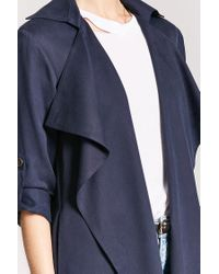 Forever 21 - Blue Draped Trench Coat - Lyst