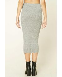 Forever 21 | Gray Contemporary Knit Midi Skirt | Lyst