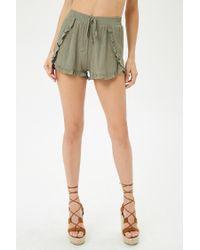 Forever 21 - Green Ruffle Trim Tulip Shorts - Lyst