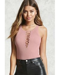Forever 21 - Multicolor Ribbed Crisscross Cutout Top - Lyst