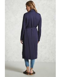 Forever 21   Blue Double-breasted Trench Coat   Lyst