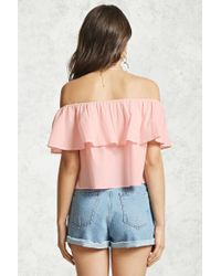 Forever 21 - Pink Off-the-shoulder Flounce Top - Lyst
