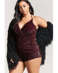Forever 21 - Purple Plus Size Sequin Velvet Playsuit - Lyst