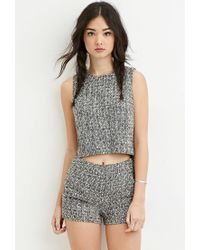 Forever 21 - Black Two-tone Boucle Top - Lyst