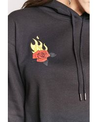 Forever 21 - Black Flaming Rose Cropped Hoodie - Lyst