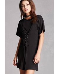 a92fcffca36 Lyst - Forever 21 Corset T-shirt Dress in Black