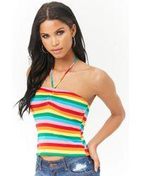Forever 21 - Multicolor Rainbow-stripe Halter Top - Lyst