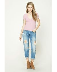 Forever 21 - Pink Ribbed Knit V-neck Tee - Lyst