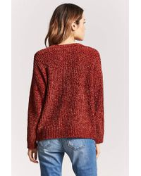 Forever 21 - Red Plunging Chenille Sweater - Lyst