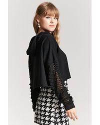 Forever 21 - Black Crochet Lace Sleeve Hoodie - Lyst