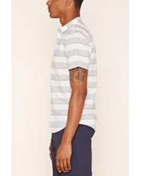Forever 21 - Blue Stripe Marled Woven Shirt for Men - Lyst