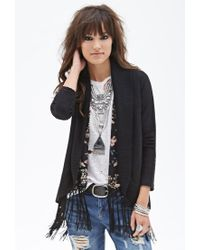 Forever 21 - Black Knit Shawl Collar Cardigan - Lyst