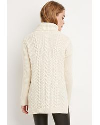 Forever 21 - Natural Longline Turtleneck Sweater - Lyst