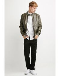 Forever 21 - Natural Faux Leather Snap-collar Jacket for Men - Lyst