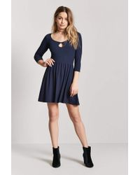 Forever 21 - Blue Heathered Cutout Skater Dress - Lyst
