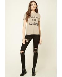 FOREVER21 - Natural Thanks For Nothing Graphic Tee - Lyst