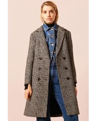 Forever 21 - Black Glen Plaid Longline Peacoat - Lyst