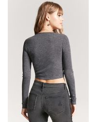 Forever 21 - Gray Women's Self-tie Heathered Top - Lyst