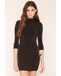 Forever 21 | Black Mock Neck Mini Dress | Lyst