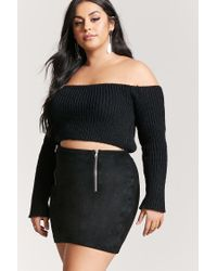 Forever 21 - Black Plus Size Faux Suede Mini Skirt - Lyst