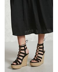 Forever 21 - Black Faux Suede Espadrille Wedges - Lyst