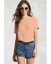 Forever 21 - Multicolor Piped Trim Crepe Blouse - Lyst