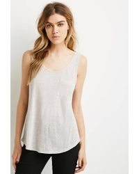 Forever 21 | Gray Button Back Linen Tank | Lyst