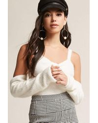 Forever 21 - White Fuzzy Twist-front Open-shoulder Top - Lyst