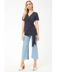 Forever 21 - Blue Draped Faux-wrap Top - Lyst