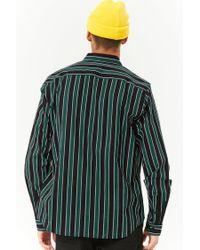 Forever 21 - Green Striped Slim-fit Shirt for Men - Lyst