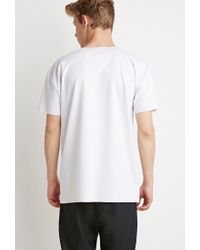 Forever 21 - White Raw-cut Tee for Men - Lyst