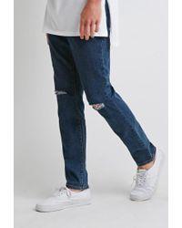 Forever 21 - Blue Ripped Skinny Jeans for Men - Lyst
