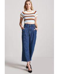 Forever 21 - Blue Fuzzy Knit Stripe Jumper - Lyst