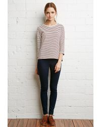Forever 21 - Natural Buttoned Stripe Top - Lyst
