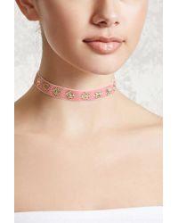 FOREVER21 - Pink Etched Floral Velvet Choker - Lyst