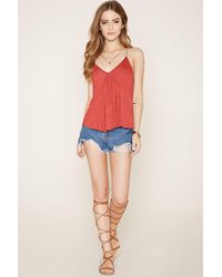 Forever 21 - Blue Burnout Knit Cropped Cami - Lyst