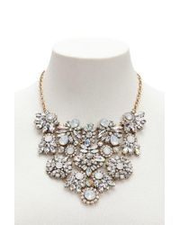 Forever 21 - Metallic Floral Faux Gemstone Statement Necklace - Lyst